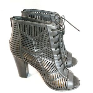 Chelsea Moreland Peep-Toe cage Lace Up Booties